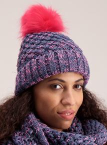 Blue & Pink Twist Knit Pom Pom Hat