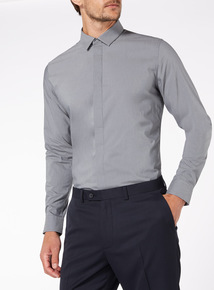 Grey Marl Stretch Slim Fit Shirt