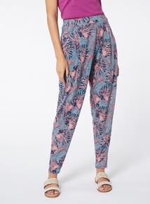 Multicoloured Palm Tree Print Harem Trousers
