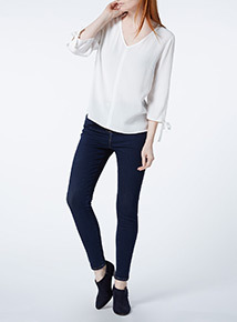 Cream Plain Split Sleeve Top
