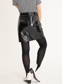 GFW Black Crinkle PVC Mini Skirt