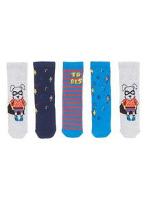 5 Pack Blue Superhero Socks (3-14 Years)