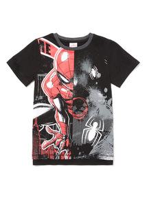 Black Spiderman Short Sleeve T-Shirt (3-14 years)