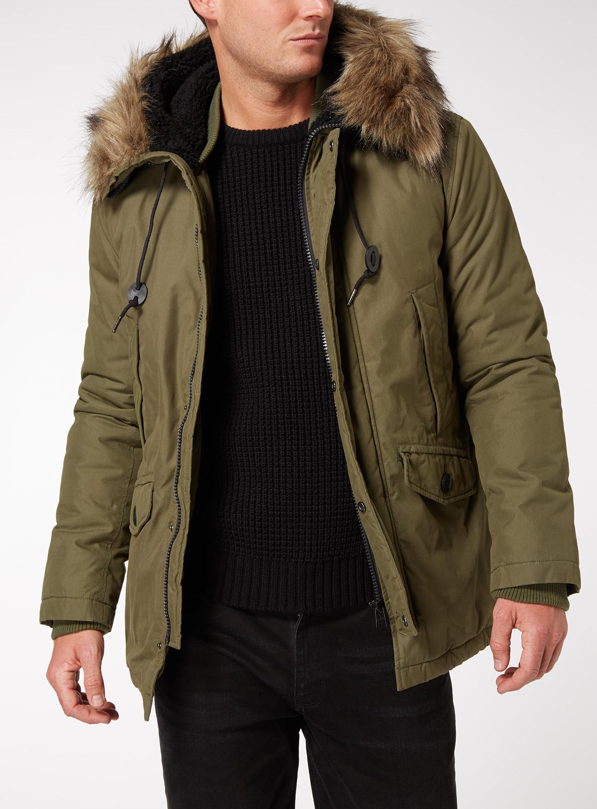 f54f727545cf Mens Khaki Faux Fur Trim Hooded Parka Coat