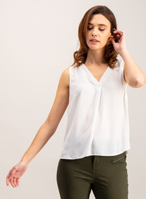 Cream V-Neck Shell Top