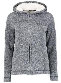 Navy Fleck Hooded Fleece