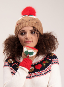 Christmas Pud Multicoloured Pom-Pom Beanie Hat
