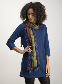 Multicoloured Floral Print Woven Scarf