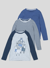 Multicoloured Llama Print Tops 3 Pack (9 months-6 years)