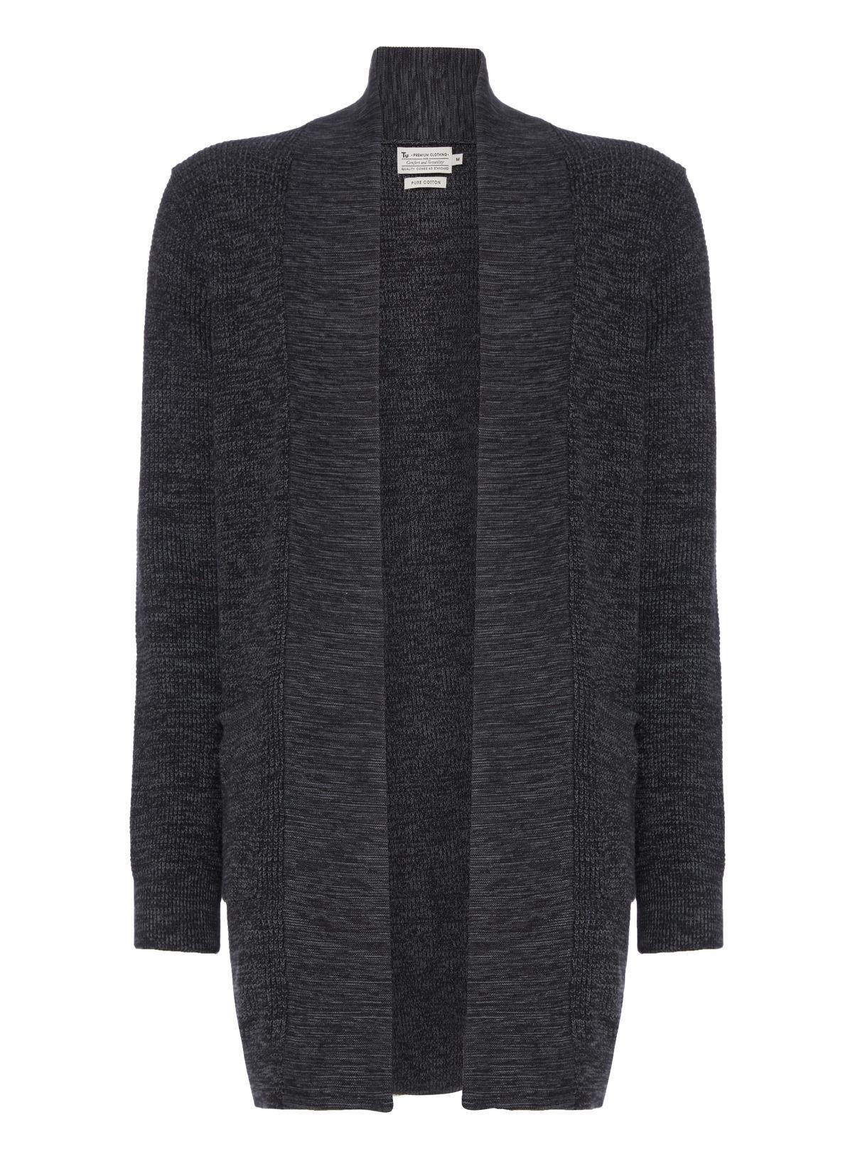Mens Charcoal Longline Cardigan | Tu clothing