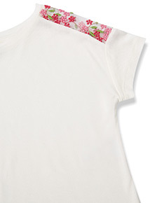 White Floral Embroidered Mesh Shoulder Detail T-Shirt (3-14 years)