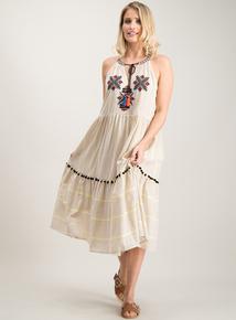 f49b1147df096 Multicoloured Tassel & Embroidery Halterneck Dress