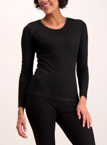 Black Thermal Pointelle Long Sleeve Top