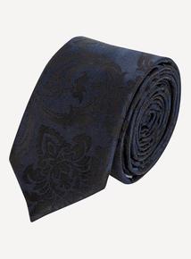 Midnight Blue Floral Tie & Lapel Pin Set