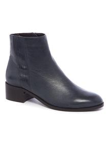 Premium Navy Leather Chelsea Boots