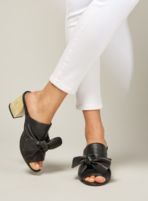 Premium Black Leather Bow Mule Sandals