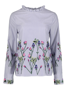 Blue Striped Floral Embroidered Blouse