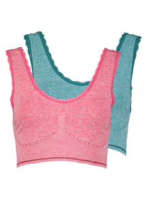 Multicoloured Seamless Crop Tops 2 Pack