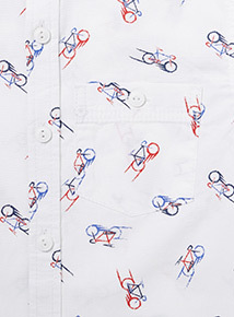 White Bike Print Shirt (3-14 years)