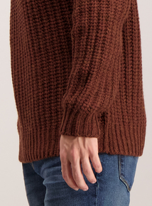 Brown Chunky Rib Crew Neck Jumper