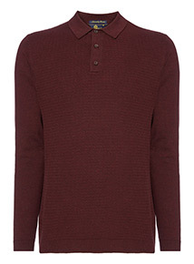 Admiral Dark Red Long Sleeve Knitted Polo Shirt