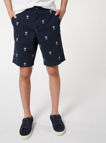 Navy Palm Tree Embroidered Chino Shorts