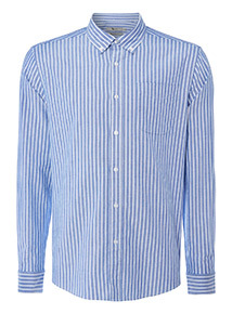 Blue Denim Striped Regular Fit Shirt
