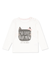 White Cat Print Long Sleeve Top (0-24 months)