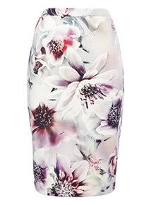 Multicoloured Floral Print Pencil Skirt