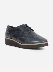 Sole Comfort Blue Leather Brogue Wedges