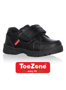 Boys Black ToeZone Coated Leather Shoes