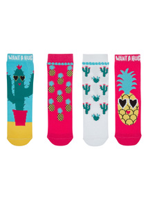 Multicoloured Hug A Cactus Socks 5 Pack