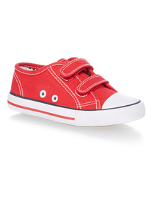 Boys Red Canvas Velcro Shoes