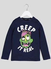 Halloween Navy 'Creep It Real' Logo Top (3-14 years)