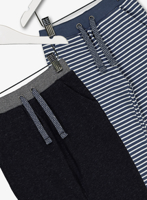Multicoloured Stripe & Marl Joggers 2 Pack