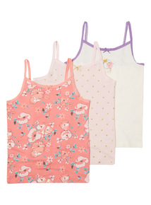 Pink Three Pack Sleep Princess Vests (18mth - 10 yrs)