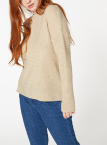 Oatmeal Gingham Tie Cable Knit Jumper