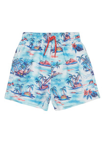 Multicoloured Hawaiian Pattern Swim Shorts (1 - 12 years)