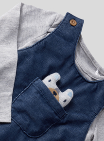 Grey and Blue Dungaree Set (0-24 months)