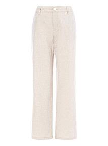 Stone Linen Wide Leg Trousers