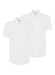 White Slim Fit Short Sleeve Shirts 2 Pack
