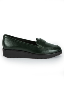 Sole Comfort Dark Green Slip On Loafers