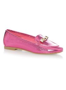 Girls Pink Metallic Loafer