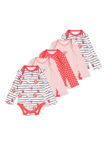 Girls Red Long Sleeve Floral Bodysuit 5 Pack (0-24 Months)