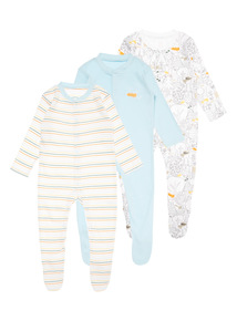 3 Pack Multicoloured Foxes In The Forest Sleepsuit (0-24 months)