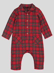 Red Tartan All In One (Newborn - 36 Months)