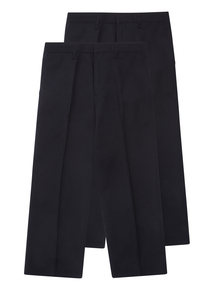 Boys Navy Woven Trousers 2 Pack (3-12 Years)