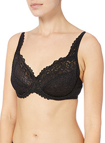 Black Floral Lace Underwired Bra