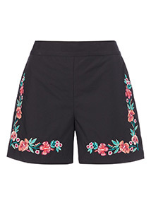 Black Embroidered Short