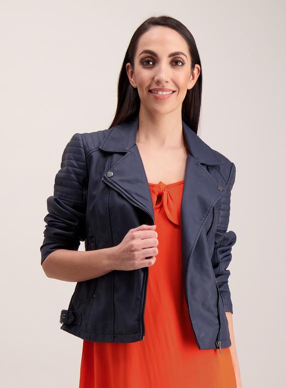 11bd5b6c623 Womens Online Exclusive Navy Biker Jacket
